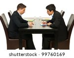 two business men writing and... | Shutterstock . vector #99760169