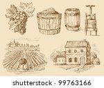 Vineyard Original Hand Drawn...