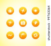 set of orange icons  holiday...