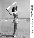 Portrait of Miss Atlantic City 1940 - stock photo