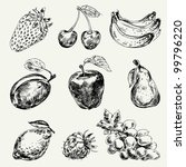set of fruits. freehand drawing.... | Shutterstock .eps vector #99796220