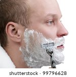 young man shave isolate on white - stock photo