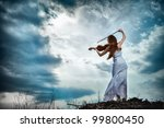 the red haired girl with a... | Shutterstock . vector #99800450
