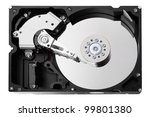 The opened hard drive isolated on a white. - stock photo