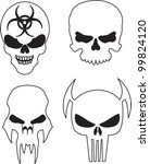 four skulls with a bio hazard... | Shutterstock .eps vector #99824120