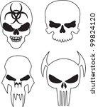 four skulls with a bio hazard... | Shutterstock .eps vector #99824120