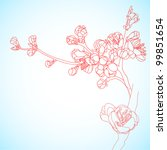 background with sakura flowers | Shutterstock .eps vector #99851654