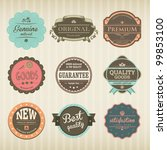 Stock vector icons with labels in vintage and retro design 99853100