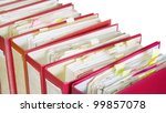 file folders close up, selective focus, isolated - stock photo