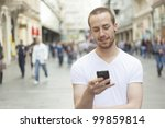 young man with mobile phone... | Shutterstock . vector #99859814