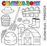 coloring book farm theme 2  ... | Shutterstock .eps vector #99860324