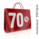 one shopping bag with the number seventy and the percent symbol (3d render) - stock photo
