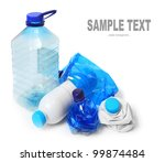 Group of empty plastic bottles. Environmental concept - waste recycling. - stock photo