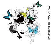 vector girl with butterflies... | Shutterstock .eps vector #99879713