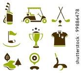 Vector set of nine stylized golf icons