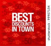 Best discounts in town background with percent discount pattern. - stock vector