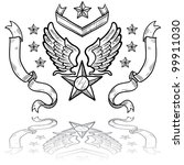 Doodle style military rank insignia for US Air Force, retro with eagle wings and star - stock vector