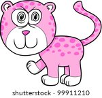 Crazy Insane Leopard Vector Illustration Cartoon Art - stock vector