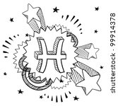 Doodle style zodiac astrology symbol on 1960s or 1970s pop explosion background - Pisces - stock vector
