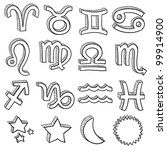 Doodle style zodiac astrology symbol set including all twelve horoscope insignia - stock vector