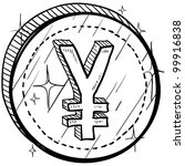 Doodle style coin with currency symbol - Japanese Yen - stock vector