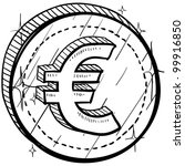 Doodle style coin with currency symbol - Euro - stock vector
