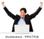 Successful online business man with laptop - isolated over a white background - stock photo