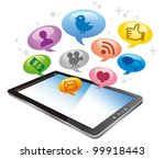 tablet pc with cloud of... | Shutterstock .eps vector #99918443
