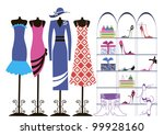 dresses hung on mannequins ...   Shutterstock .eps vector #99928160