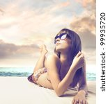Beautiful Woman Sunbathing At...
