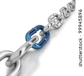 chrome chain with a blue link... | Shutterstock . vector #99945896