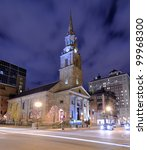 Arlington Street Church in Boston, Massachusetts. The present building was completed in 1861. - stock photo