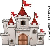 Cute cartoon castle. Vector illustration with simple gradients. All in a single layer.