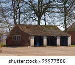 Traditional style shed at a european farm - stock photo