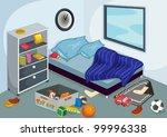 illustration of a messy bedroom | Shutterstock .eps vector #99996338