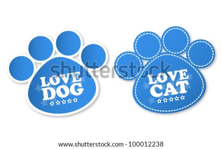 paw print stickers with text