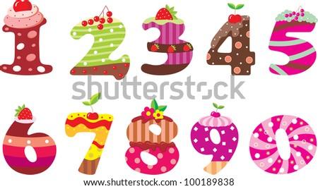 sweet numbers vector