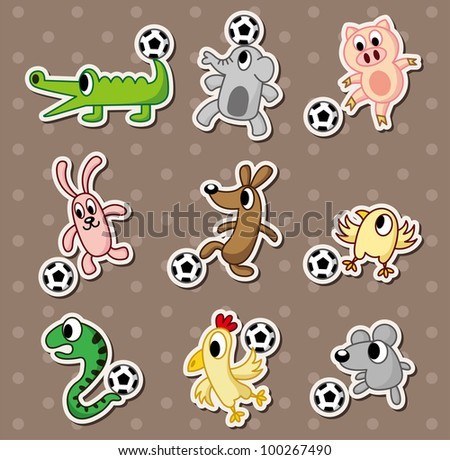 animal football stickers soccer