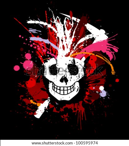 skull grunge design for t shirt