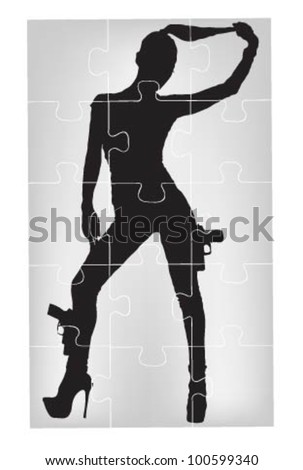 hot women with guns in puzzles