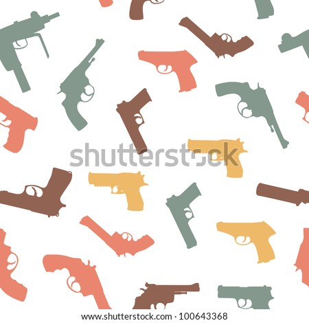 vector guns set seamless pattern