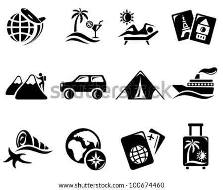 vacations and travel icon set