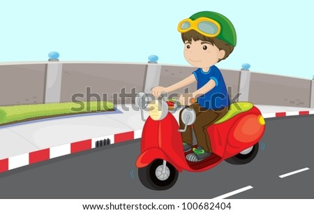 boy driving scooter on the road
