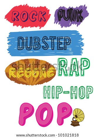 doodle music styles   vector