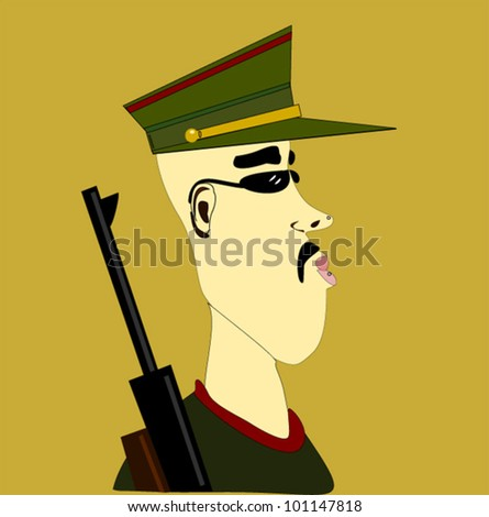 soldier with rifle and military