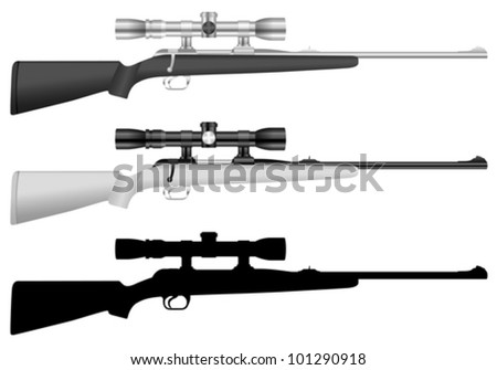 rifle set on a white background