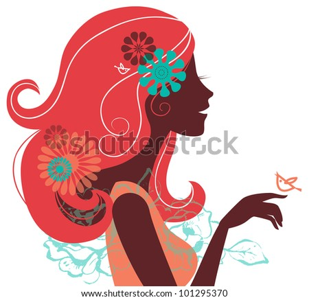 beautiful woman silhouette with