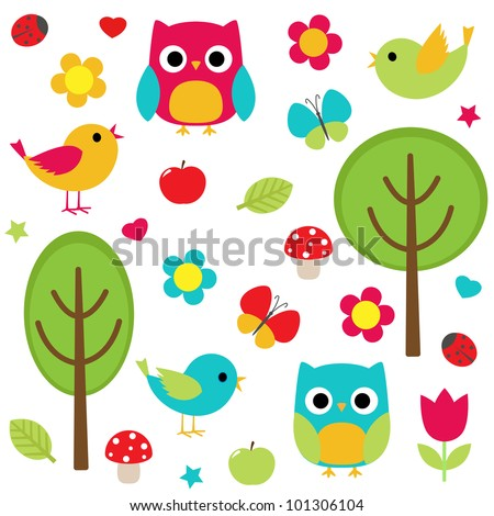 vector set   owls  birds