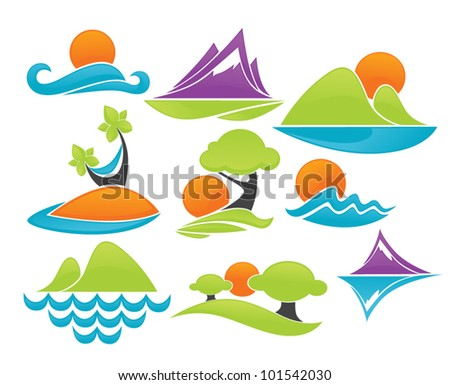 sea and sun  vector collection