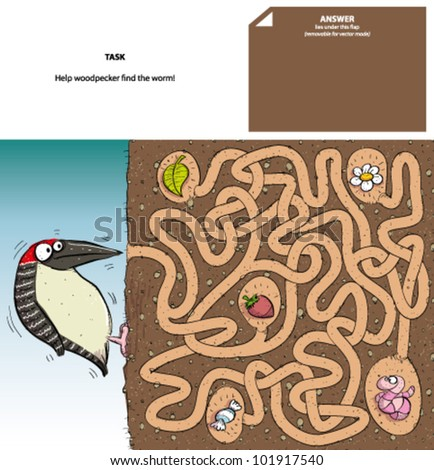woodpecker   maze game with